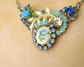 Vintage Flower Necklace Floral necklace SOMETHING BLUE Necklace Silver Blue turquoise aqua Bridal Free Shipping