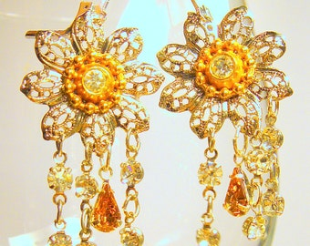 Earrings Dangle Earrings Handmade Jewelry Vintage filigree flower chandelier earrings Rhinestone Silver Gold Handmade earrings
