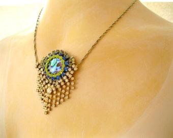 Rhinestone Vintage rhinestone Necklace PEACOCK EYE Upcycled Handmade necklace. Blue Green Silver necklace. Rhinestone necklace.