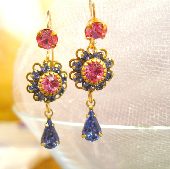 Violet and Raspberry Earrings Vintage Rhinestones and Swarovski Crystal Sparkling Handmade