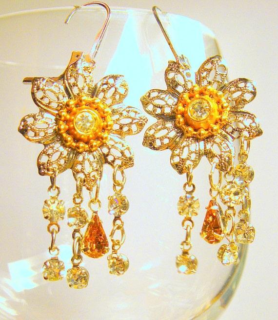 Earrings Dangle Earrings Handmade Jewelry Vintage filigree flower chandelier earrings Rhinestone Silver Gold Handmade earrings