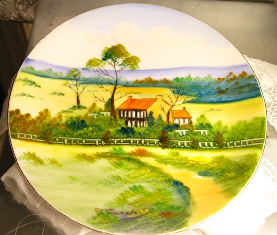 RESERVED FOR LR -Occupied Japan Plates Hand Painted Collectable Home Decor Antique Set of two collectible Vintage