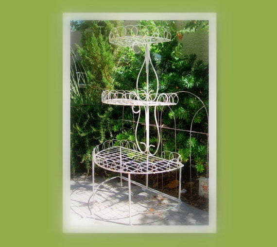Garden Decor  Vintage Plant Stand, Home Decor, FRENCH GARDEN, Cottage Antique Shabby Chic ,Wire Victorian Planter Garden Decor