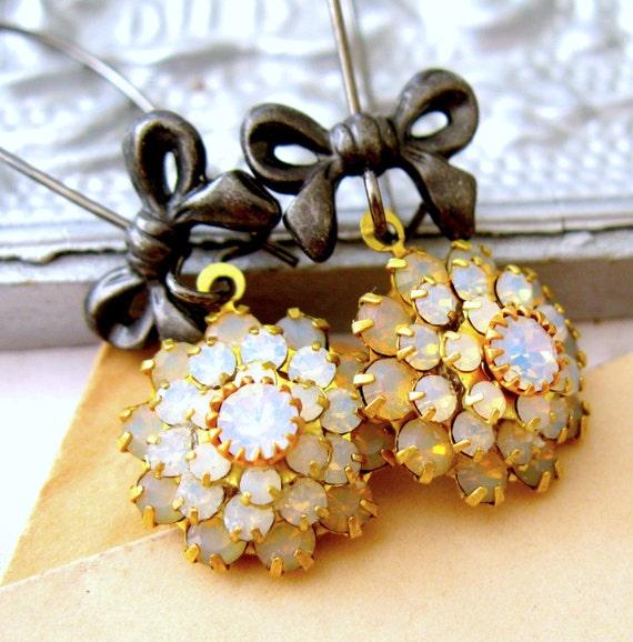Opal crystal cluster earrings BLACK TIE Earrings Black Bow and crystal dangle earrings Handcrafted earrings bridal wedding