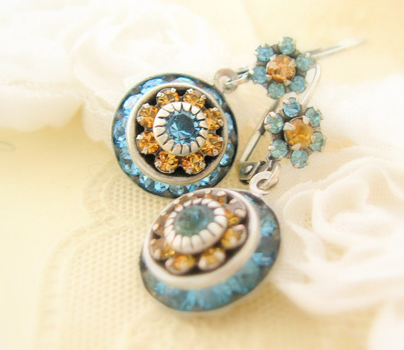 Jewelry Earrings Dangle Handmade Swarovski Flower BAGATELLE earrings Crystal and Estate Vintage Style Silver Rhinestone Handmade earrings