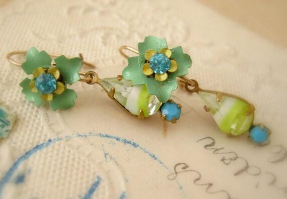 Flower Earrings Handmade Vintage flower earrings Spring Rhinestone EARLY BUDS  green Girls, Teens, Handmade earrings