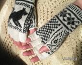 Fingerless (half finger) Gloves, Fair Isle Hand Knit, Heather Slate