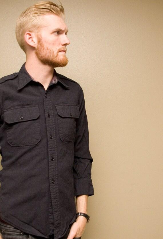 Black Vintage Military Shirt