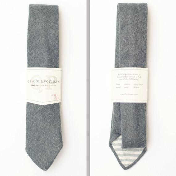 Skinny Handmade Charcoal Wool Felt Necktie