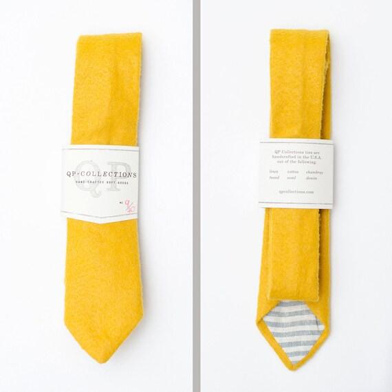 Skinny Handmade Yellow Wool Felt Necktie
