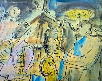 ORIGINAL 1940s 1950s Sacha Chimkevitch painting Bebop Jazz pen and oil on arches 1 of 2