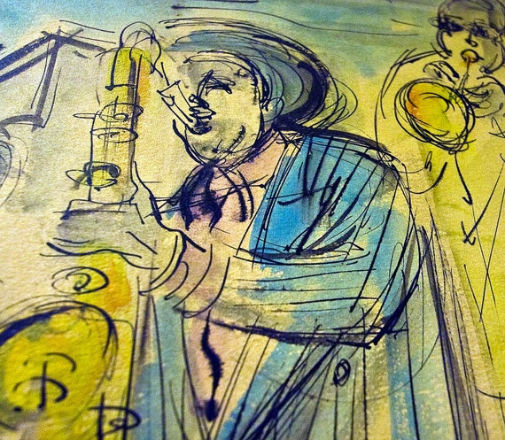 ORIGINAL 1940s 1950s Sacha Chimkevitch painting Bebop Jazz pen and oil on arches 2 of 2