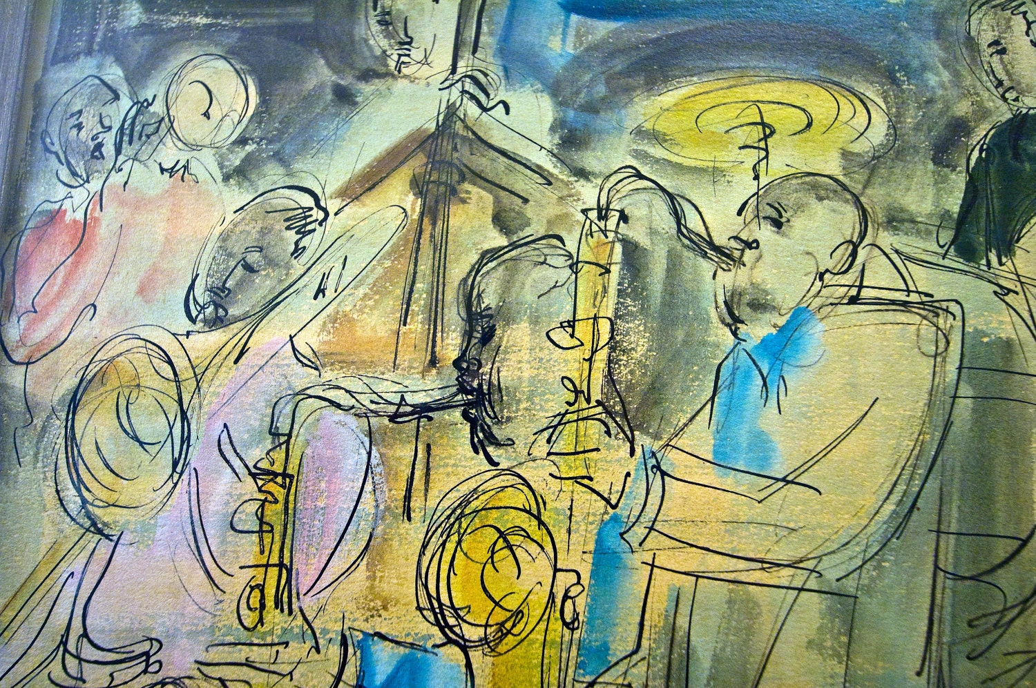 Original 1940s 1950s Sacha Chimkevitch Painting Bebop Jazz Pen