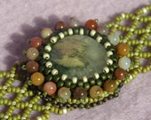 Jasper Choker - matte green netting necklace with ocean jasper centerpiece