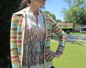 Vintage 70s Retro Rainbow Cardigan Sweater