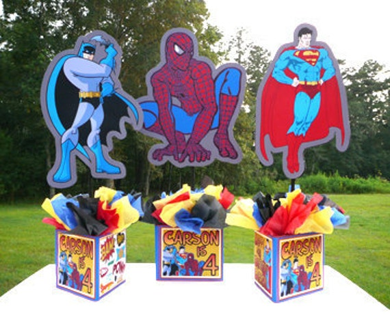 Items Similar To DIY Super Hero Personalized Centerpiece Superhero