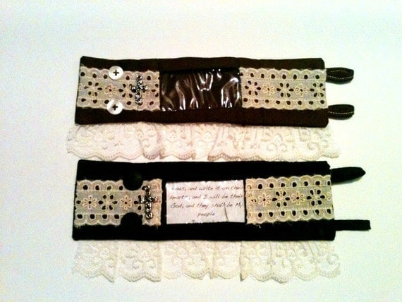 Interchangeable Scripture Cuff - 2 Brown/Black with Lace