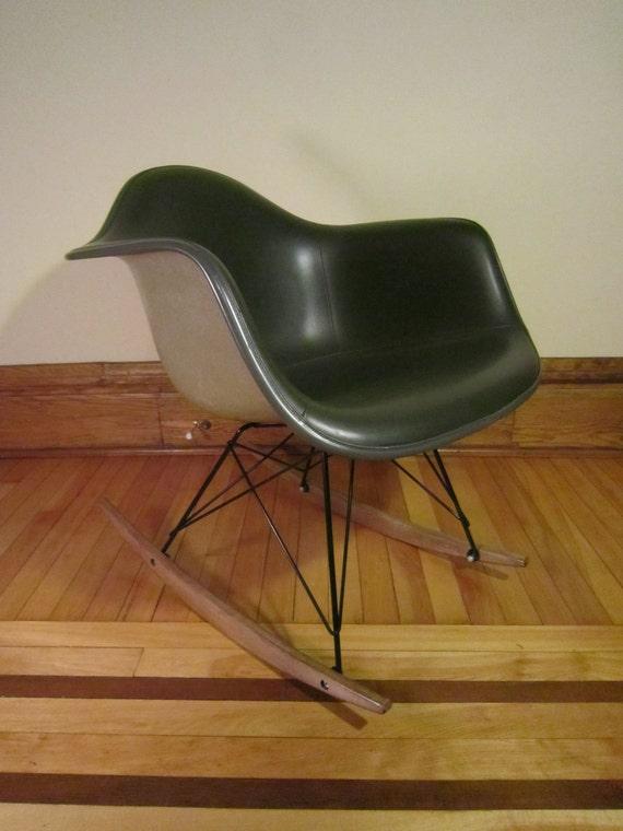 eames herman miller upholstered rocking chair green greige