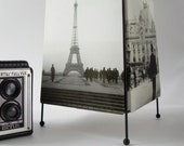 Lamp with 4 Vintage Photos of France, c. 1930-1945