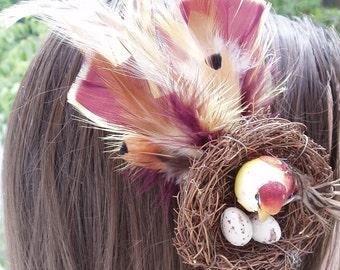Bird nest with feathers hair clip, bird nest hair accessory, OOAK