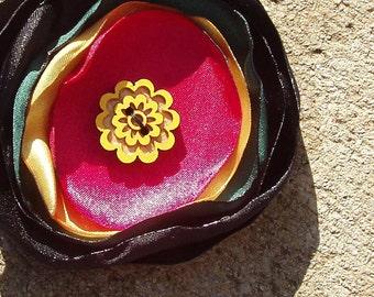 Bob Marley Rasta fabric hair flower, red green gold black