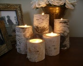 5 Birch tea light holders rustic wedding candle holders