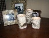 24 Birch bark log Tea light holders wedding rustic