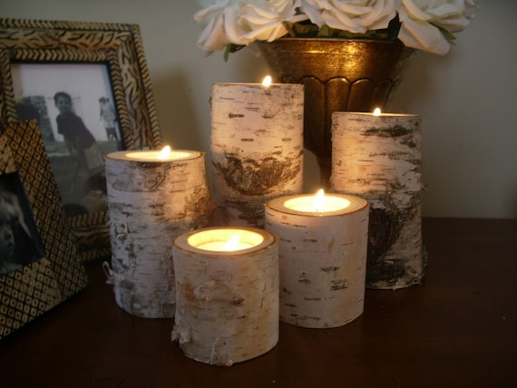 100 Birch bark log Candle holders tea lights 20 sets of 5