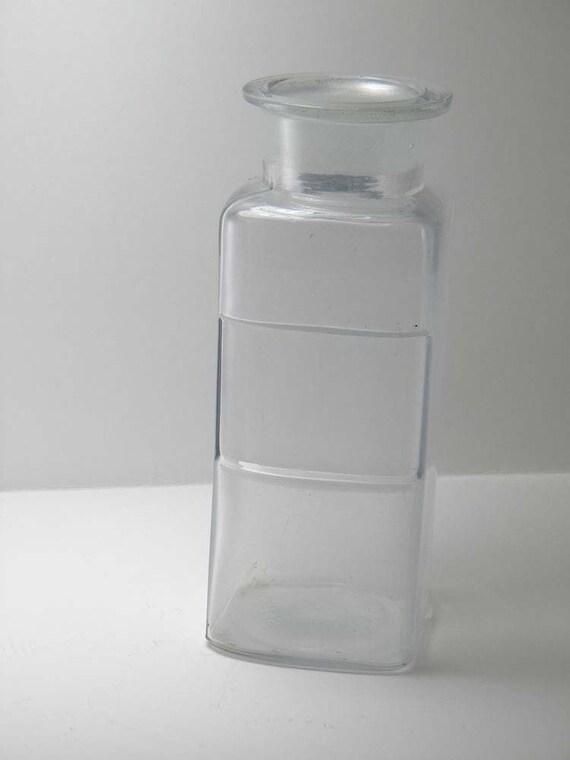 VINTAGE PHARMACY BOTTLE Clear Glass