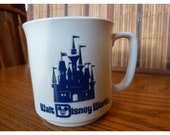 Vintage Walt Disney World Mug in White with Blue Castle