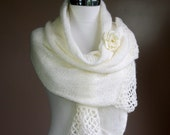 Sparkled Scarf in Cream with Flower Brooch and Lace Trim - Chic Elegant Women Accessories - Bridal Wrap - Winter Fashion