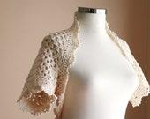 Bride Bolero Ivory - Bridal Shrug in Creme - Neutral Chic Elegant Womens Sweater Knit - Spring Summer Fashion - Dreamy Wedding Accessories