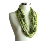 Crochet Chain Necklace in Shades of Green - Women and Teens Accessories - Spring Fashion