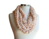 Knit Infinity Scarf in Salmon, Orange, Grey and Brown - Chunky Cowl - Loop Scarf - Women and Teens Accessories - Spring Fall Fashion