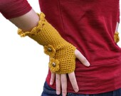 Fingerless Gloves in Mustard Yellow with Flowers and Buttons - Mittens - Fall Winter Fashion - Women Teens Accessories
