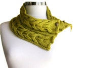 Neck Warmer Scarf Cable Knit in Lemongrass with Buttons - Women Teens Accessories - Autumn Winter Fashion