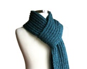 Mens Scarf Knit in Petrol Tweed - Fall Winter Accessories - Men Fashion