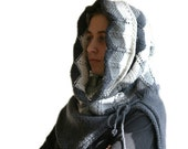 Hooded Knit Poncho in Chevron Zig Zag - White to Grey Capelet Scarf - Chunky Cowl - Women and Teens Accessories - Fall Winter Fashion