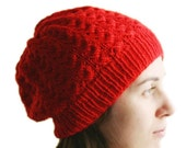 Red Knit Hat - Women Teens Accessories - Red Fashion - Womens Hat - Slouchy Beret - Winter Fashion