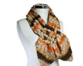 Striped Scarf Braided in Brown, Orange and  Beige - Neck Warmer in Brown, Orange, Beige, Women Teens Accessories - Fall Winter Fashion