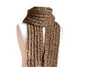 Men's Scarf in Brown and Creme - Fall Winter Fashion