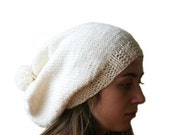 Knit Slouchy Hat  with Pom Pom in Creme - Off White Fall Winter Fashion - Women and Teens Accessories