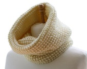 Knit Cowl Scarf in Creme - Neck Warmer - Snood - Fall Winter Fashion - Women Teens Accessories