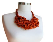 Orange Jewelry - Knitted  Necklace in Shades of Cinnamon and Orange - Tangerine Ruffle Fashion - Spring Summer - Women Teens Accessories