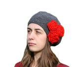 Valentine's Grey Hat with Red Roses - Gray Beanie With Flowers - Fall Winter Fashion - Women Teens Accessories