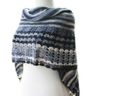 Women's Striped Wrap in Navy, Denim Blue, Grey and White - Striped Shawl - Spring Summer Fall Fashion - Women Accessories