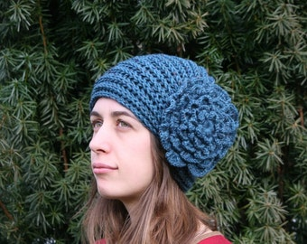 Knit Hat with a Big Flower in Petrol Tweed - Fall Winter Fashion - Women and Teens Accessories - Christmas Gift For Her