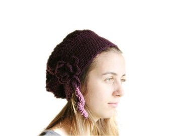 Plum Purple Hat with a Flower - Spring Fall Fashion - Women and Teens Accessories - Hand Crochet Beanie - Slouchy Beret
