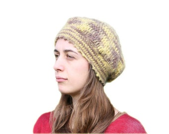 Hand Made Beanie in Brown and Yellow - Crochet Hat - Fall Winter Fashion - Women and Teens Accessories - Hat - Beret