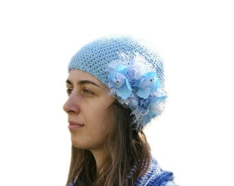 Hat in Blue with Ribbon Flowers - Beanie  - Spring Fall Winter Fashion - Women and Teens Accessories